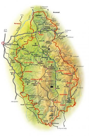 Carte Parc Régional Naturel du Livradois-Forez